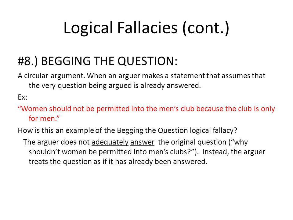 Logical Fallacies. What is a logical fallacy? A logical fallacy is ...