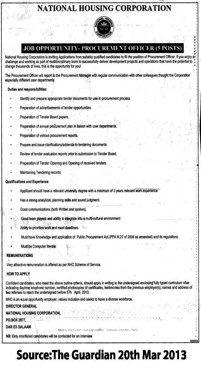 Procurement Officer   TAYOA Employment Portal