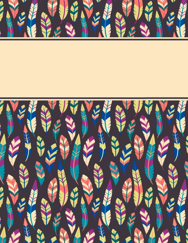 Free printable feather binder cover template. Download the cover ...