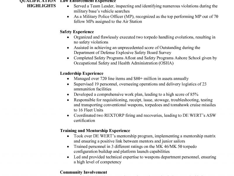 Military Police Resume Experience. military police resume template ...