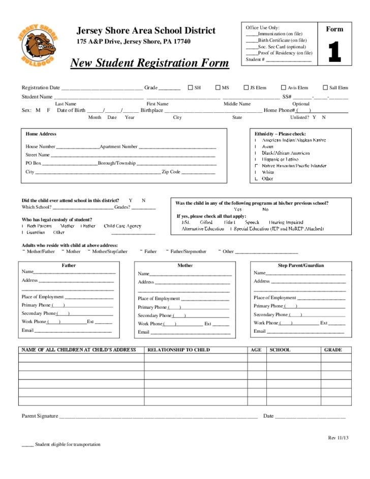 New Student Registration Form - Jersey Shore Area School District ...