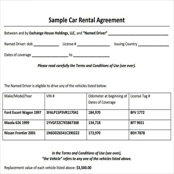 Sample Car Rental Agreement - 6+ Documents In PDF, Word