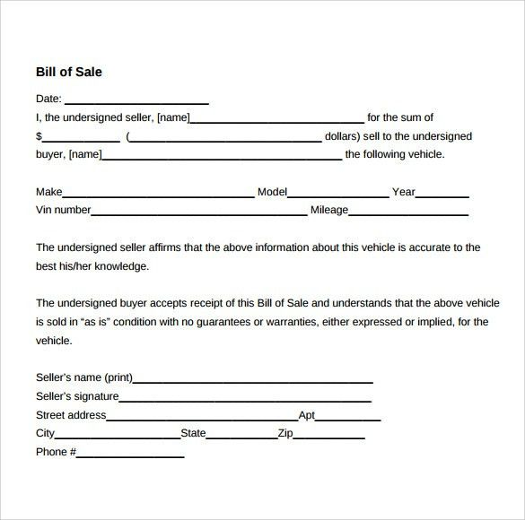 Sample Used Car Bill of Sale - 8+ Documents in PDF