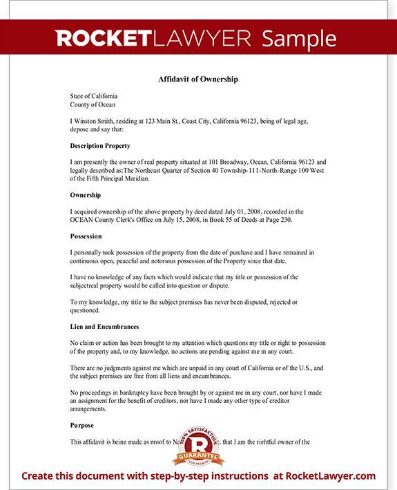 Affidavit of Ownership Form - Property, Vehicle Ownership ...