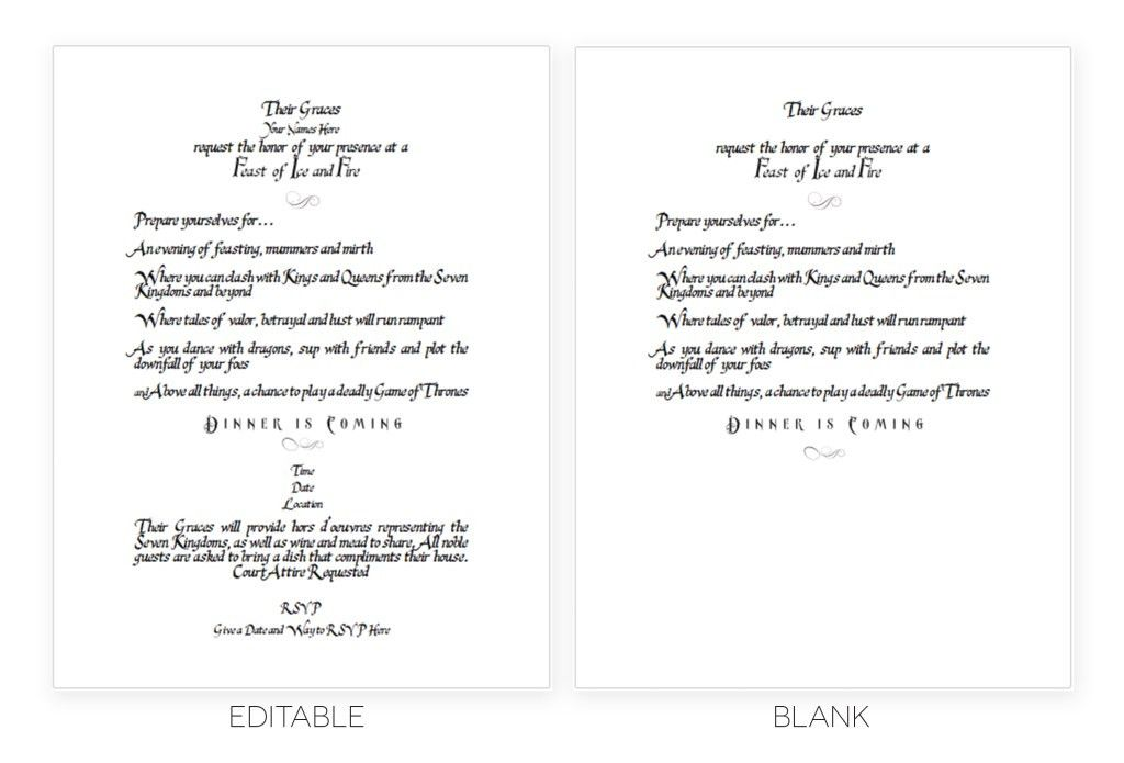 Printable Game of Thrones Scroll Invitation Template
