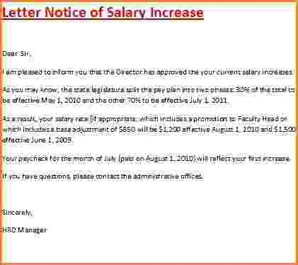 5+ salary increase letter from employer sample | Simple salary slip