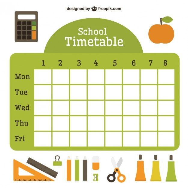 Flat school timetable with essential accessories Vector | Premium ...