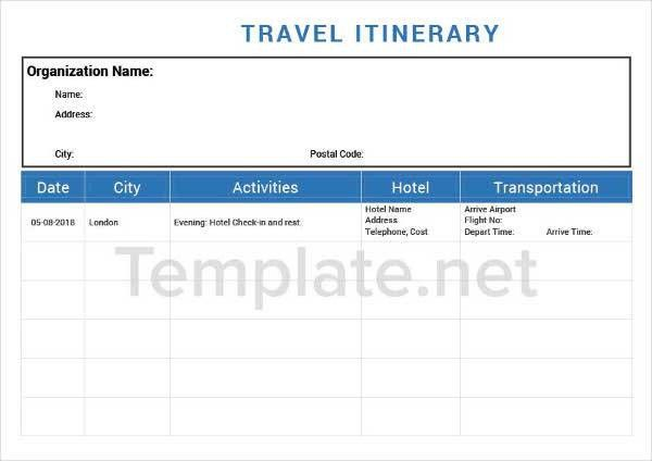 14+ Itinerary Templates   Free & Premium Templates