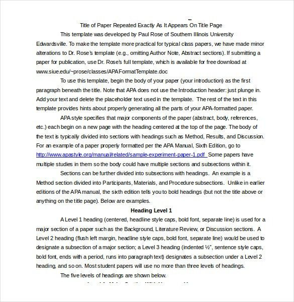 apa reference page template
