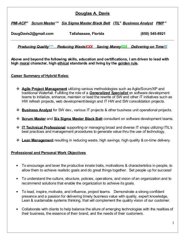 Resume, doug davis, 10 18-15 pmi-acp, pmp, scrum master, six sigma ma…