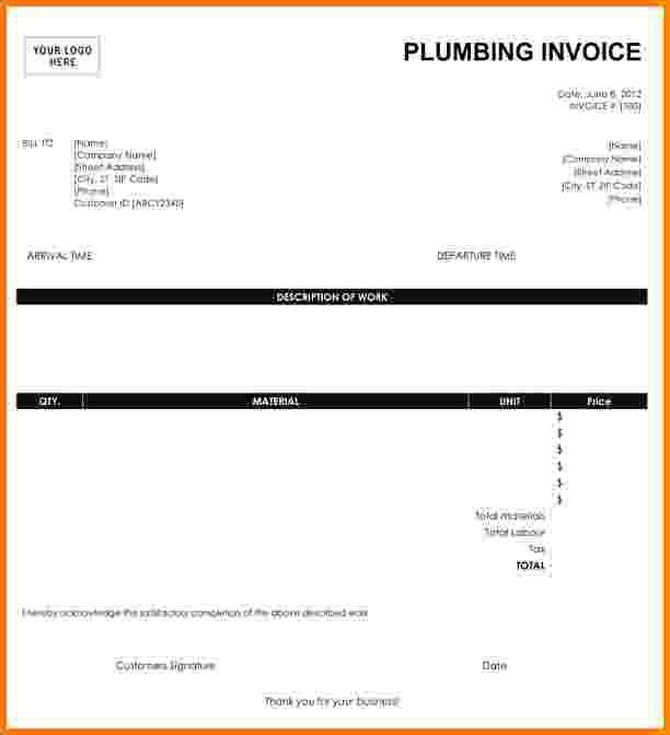 7+ free plumbing invoice template | Short paid invoice