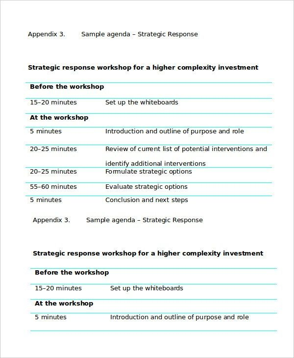 Workshop Agenda Template - 6+ Free Word, PDF Documents Download ...