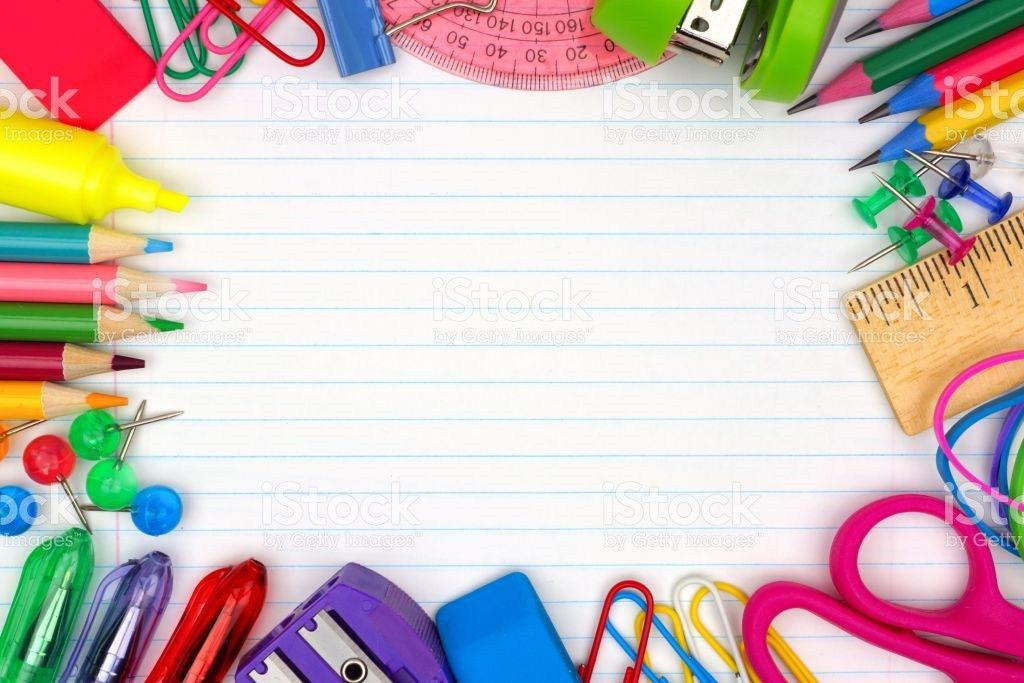 School Supplies Frame On Lined Paper Background stock photo ...