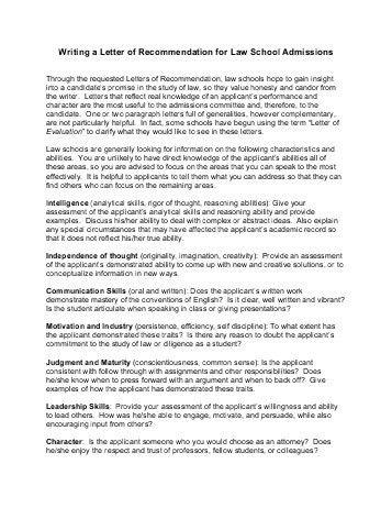 Law School Letters Of Recommendation Samples | Free Cover Letter ...