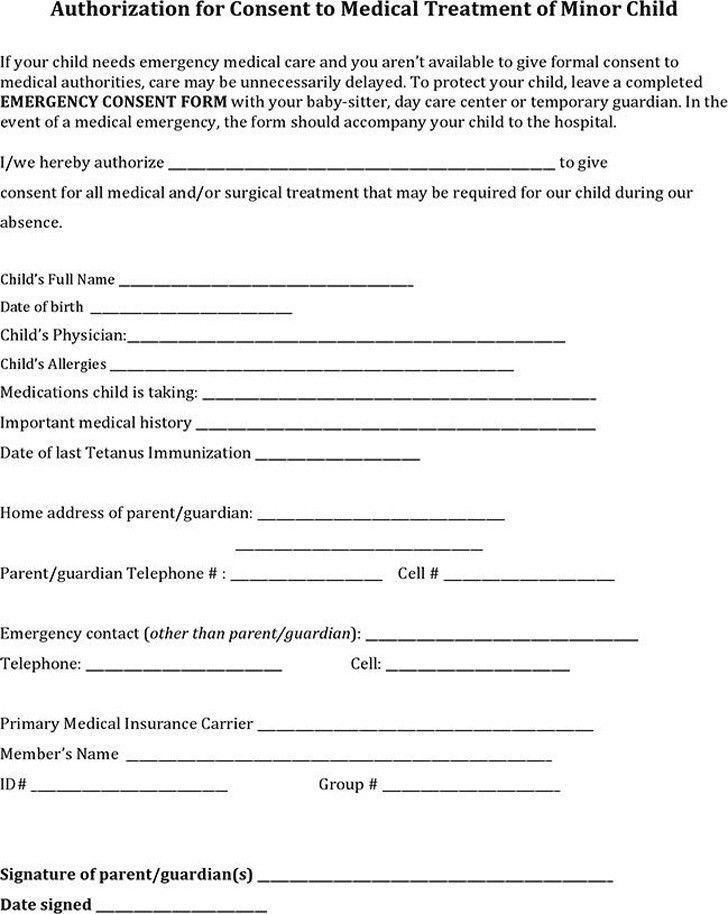 Child Medical Consent Form | Download Free & Premium Templates ...