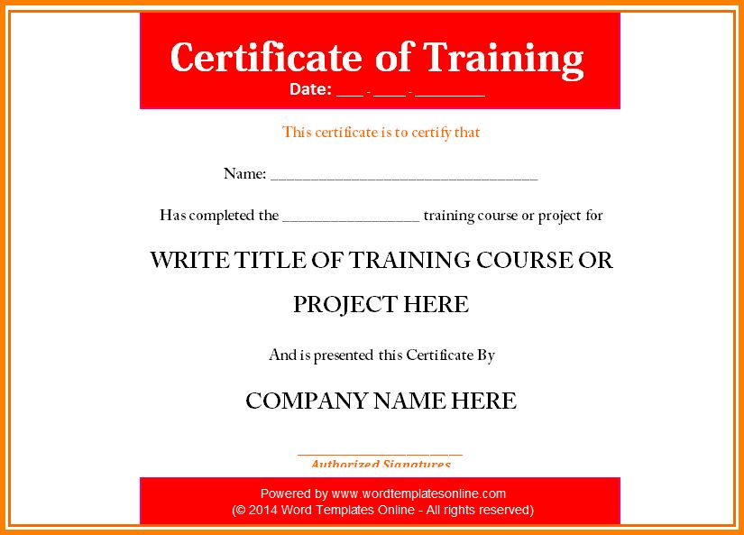 9+ certificate of training template | resume reference