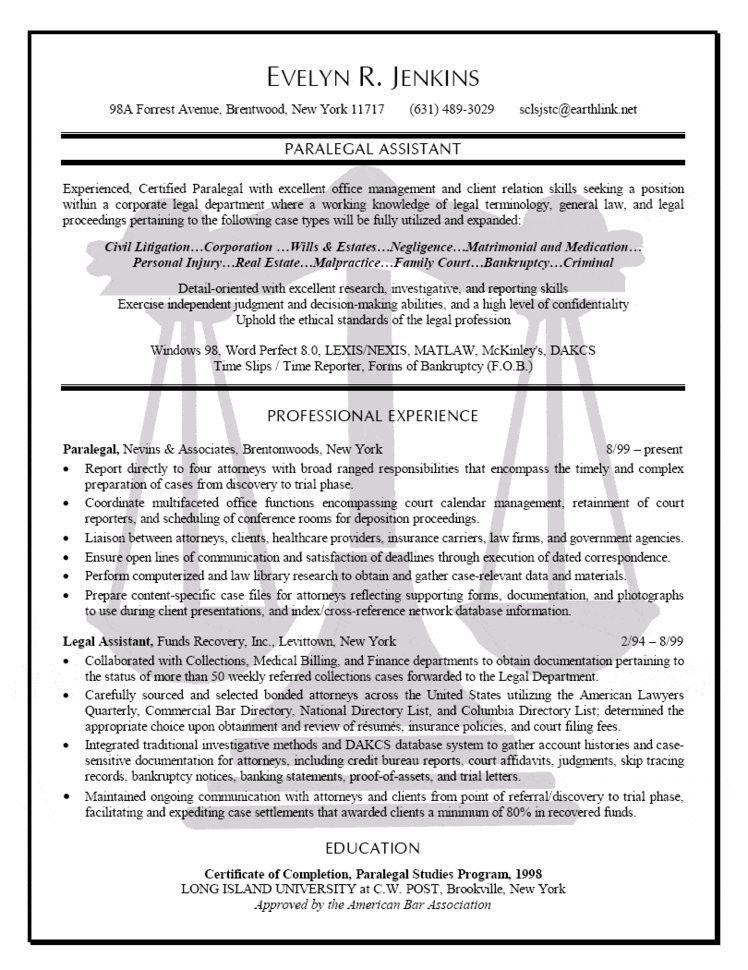 Download Paralegal Resume Sample | haadyaooverbayresort.com