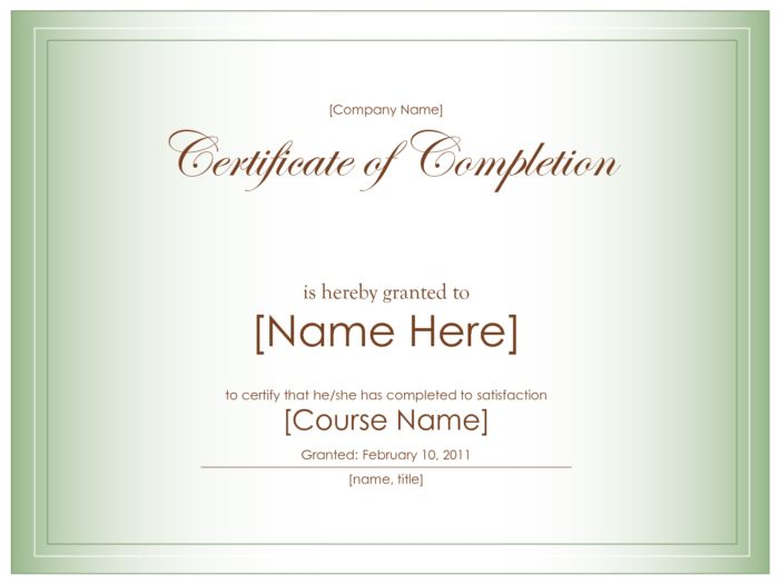Awe-inspiring Certificate Of Completion Wording And Template ...