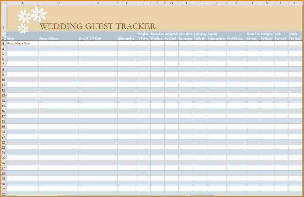 Wedding Guest List Spreadsheet Template | HAISUME