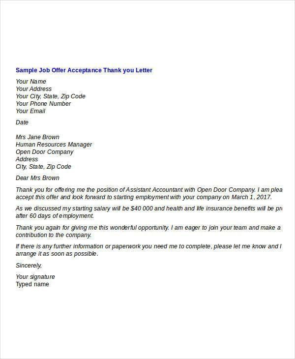 Thank You Letter Sample After Job Offer - Mediafoxstudio.com