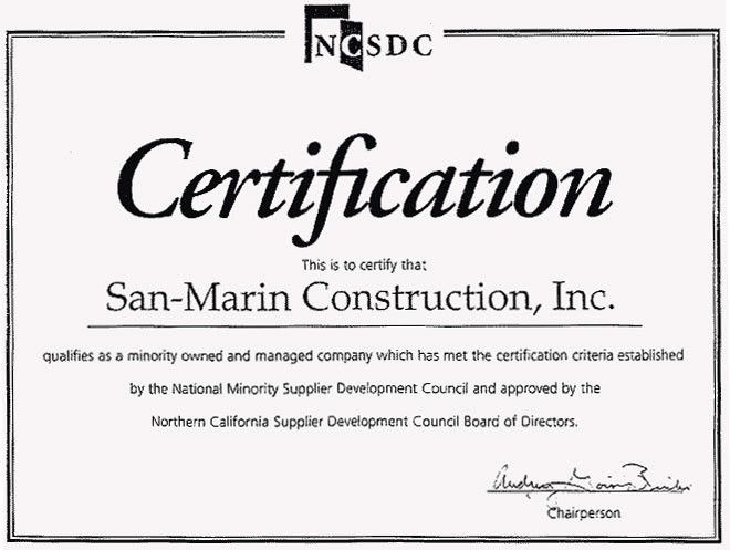 San-Marin Construction, Inc. - History