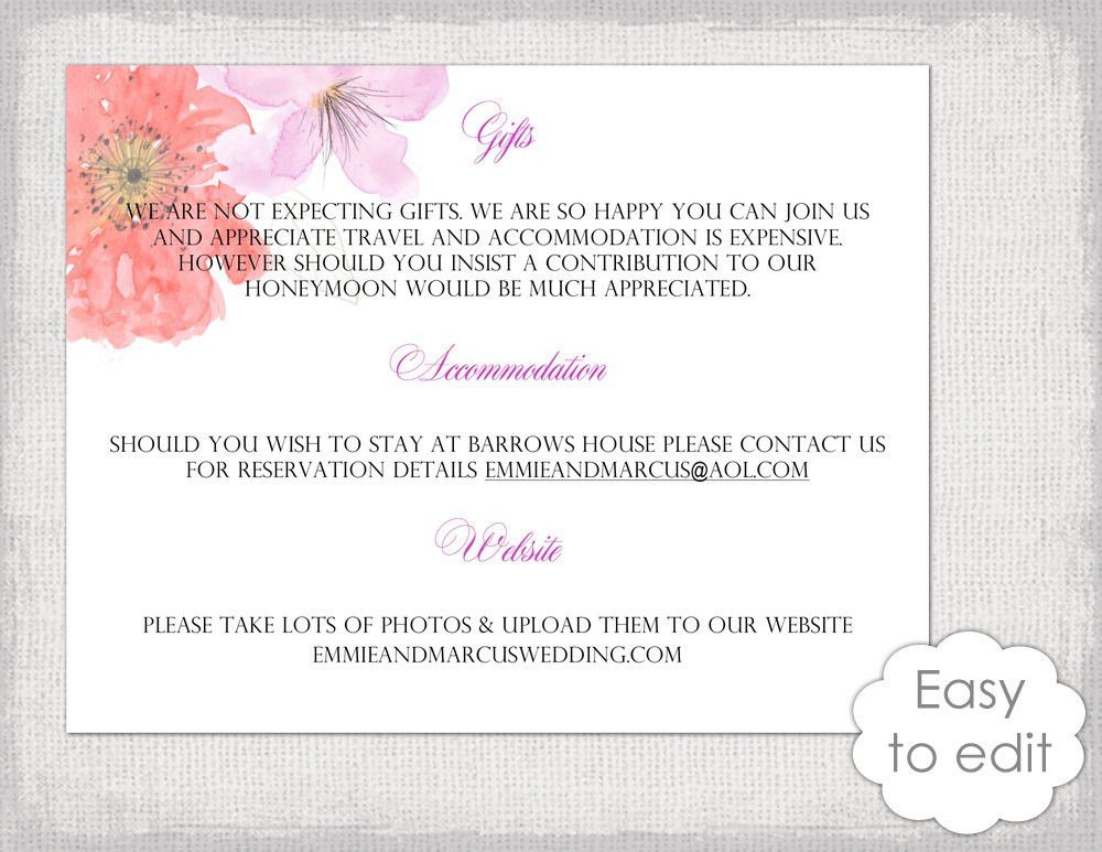 Wedding information card template DIY printable Flower