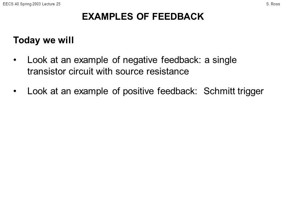 EXAMPLES OF FEEDBACK Today we will - ppt download