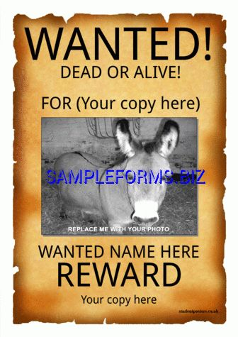 Wanted Poster Template & samples forms