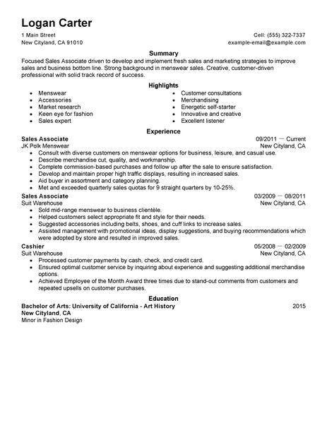 Simple Sales Associate Level Resume Example | LiveCareer