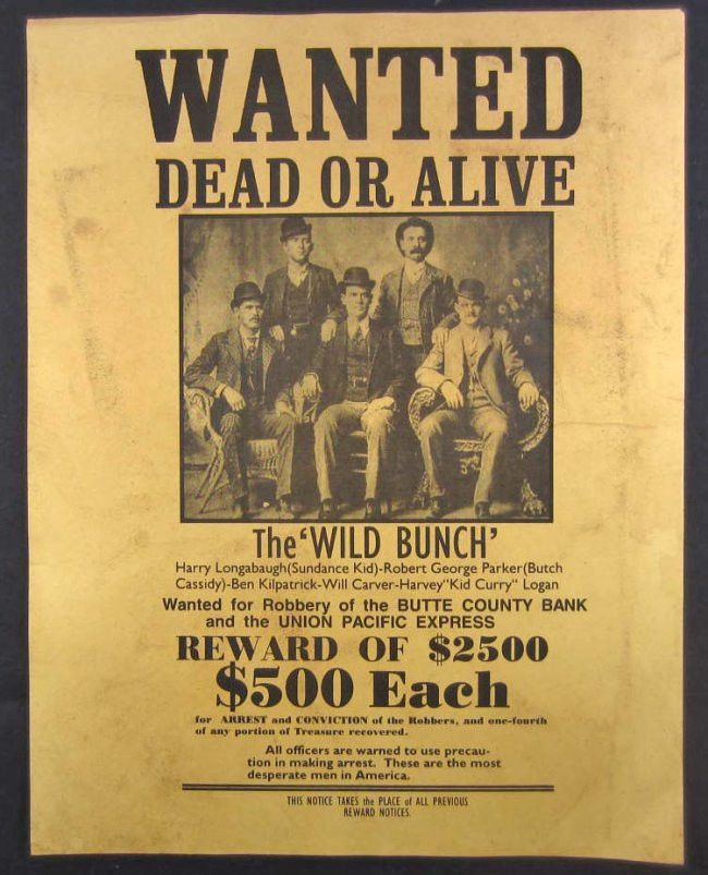 Real Wanted Posters Wild West 248: outlaws the wild bunch ...