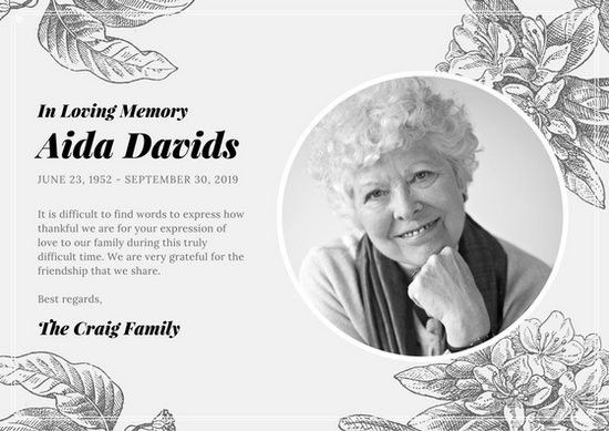 Black and White Vintage Illustrations Obituary Card - Templates by ...