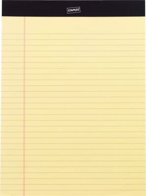 "Staples Perforated Note Pads, Wide/Letter Ruled, Yellow, 8-1/2"" x ..."