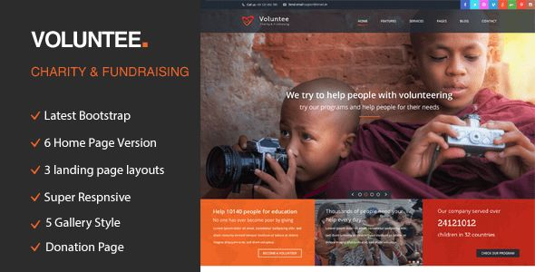 Volunteer - Responsive HTML Template for Charity & Fund Raising by ...