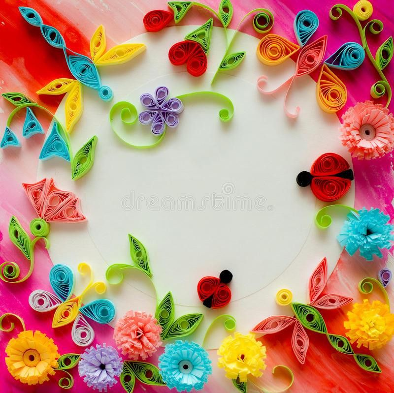 Quilling Greeting Card Blank Template Royalty Free Stock Images ...