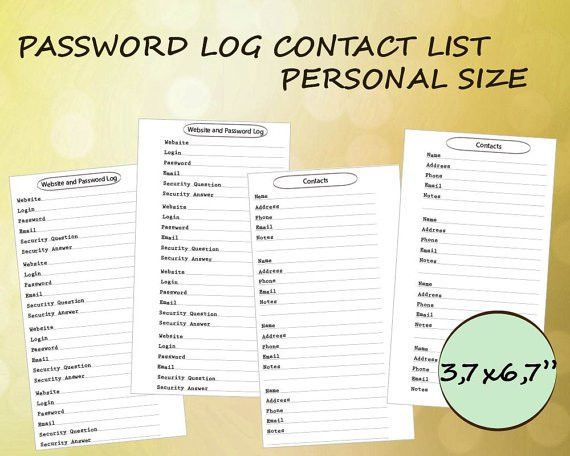 Filofax Personal Size Planner Printable Contact List