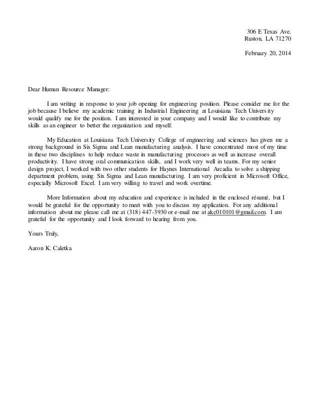 Aaron Caletka Resume and Cover letter 2015