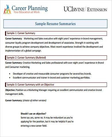 Cv career summary examples