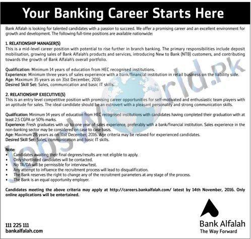 Bank Alfalah Jobs November 2016 Relationship Manager & Executives ...