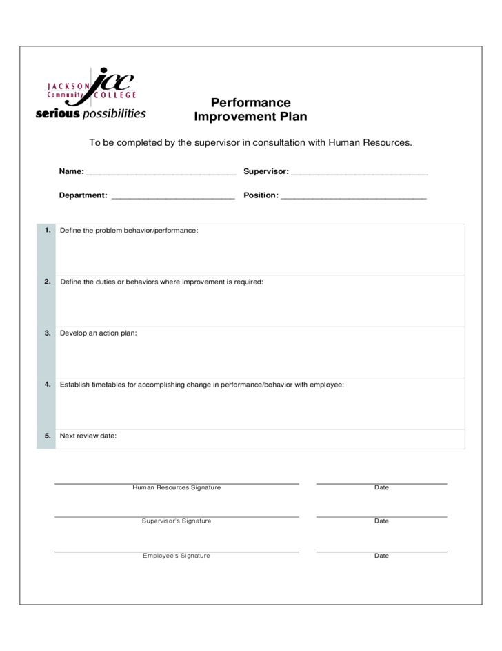 Performance Improvement Plan Form - Mississippi Free Download