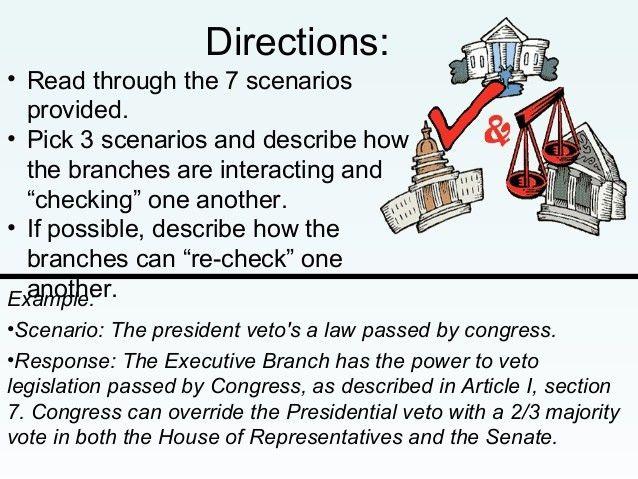 Checks and balances scenarios