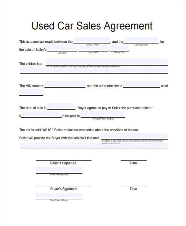 Vehicle Sales Agreement Template Zrom