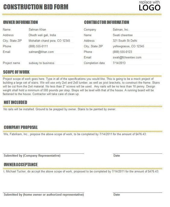 Printable Blank Bid Proposal Forms | Construction Proposal Bid ...