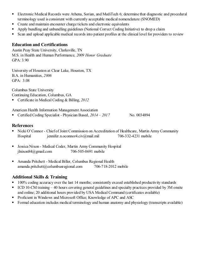 Resume - medical coding civilian