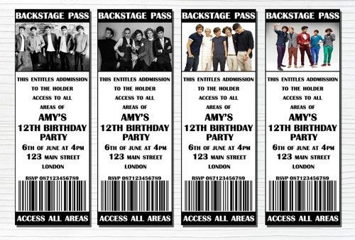 1D,Personalised One Direction Birthday Party Ticket Invitation ...