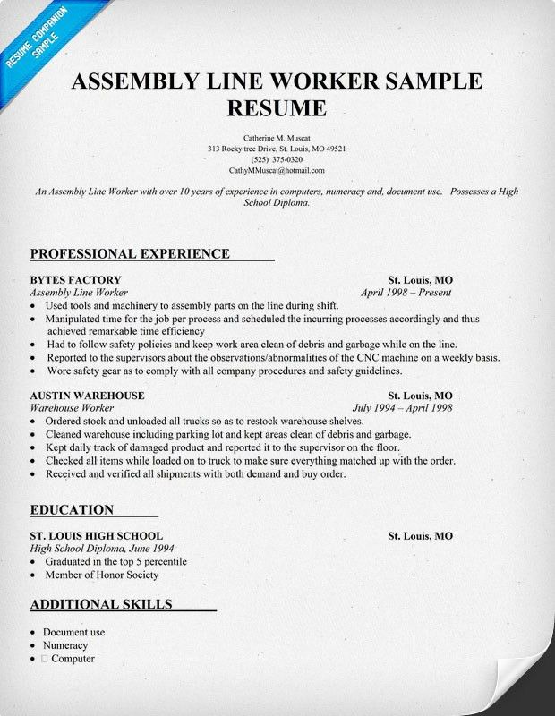 production line worker resume examples. production line worker and ...