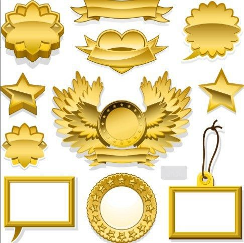 Free Golden Blank Badge & Label Design Templates 02 - TitanUI