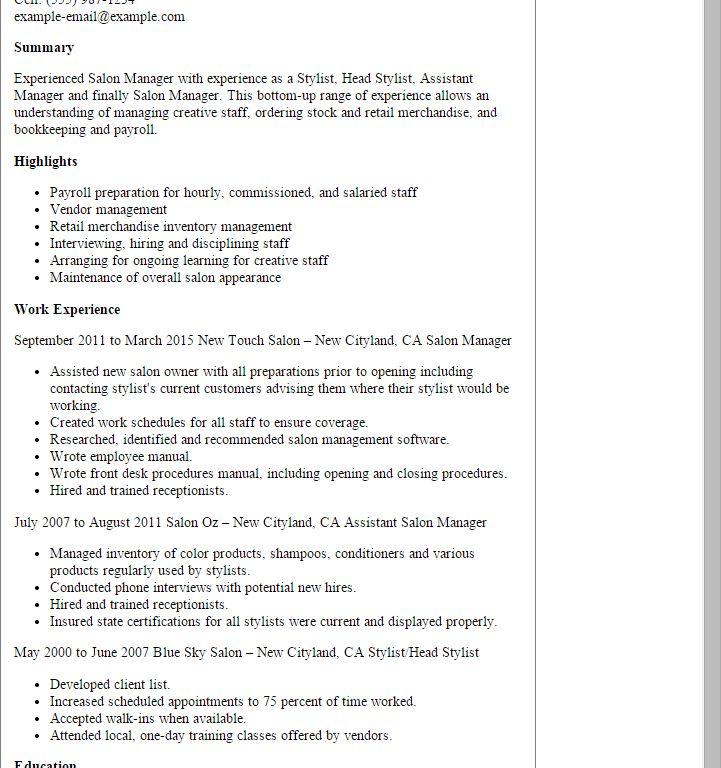 Inspiration Salon Manager Resume Shining - Resume CV Cover Letter