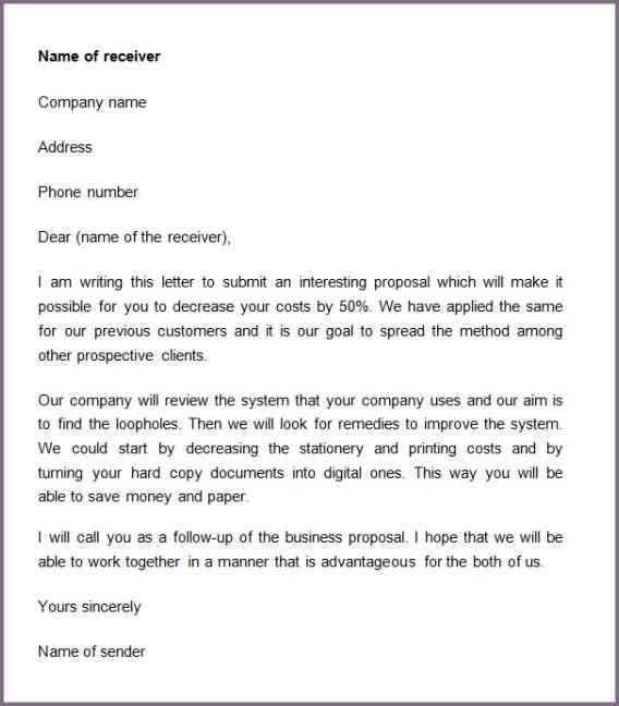 Example Business Proposal Letter 108 | Samples.csat.co