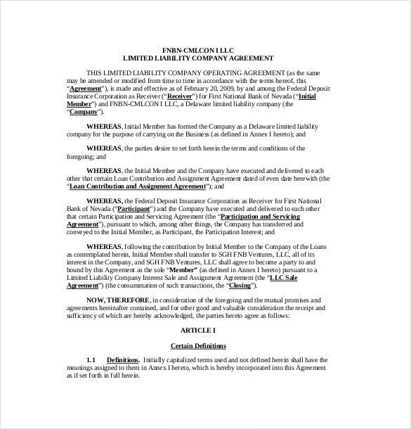 11+ Operating Agreement Templates– Free Sample, Example, Format ...