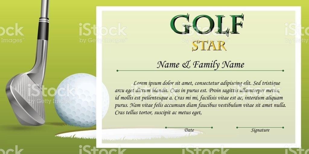 Certificate Template For Golf Star With Green Background stock ...